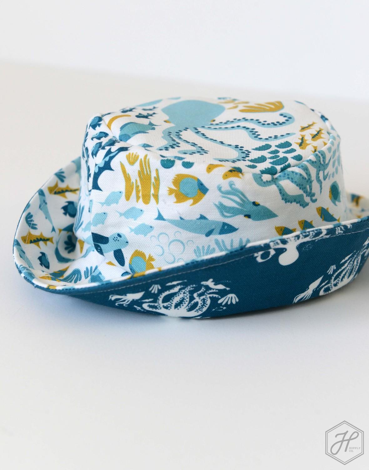 Baby Bucket Hat Life Aquatic Linen Cotton Canvas