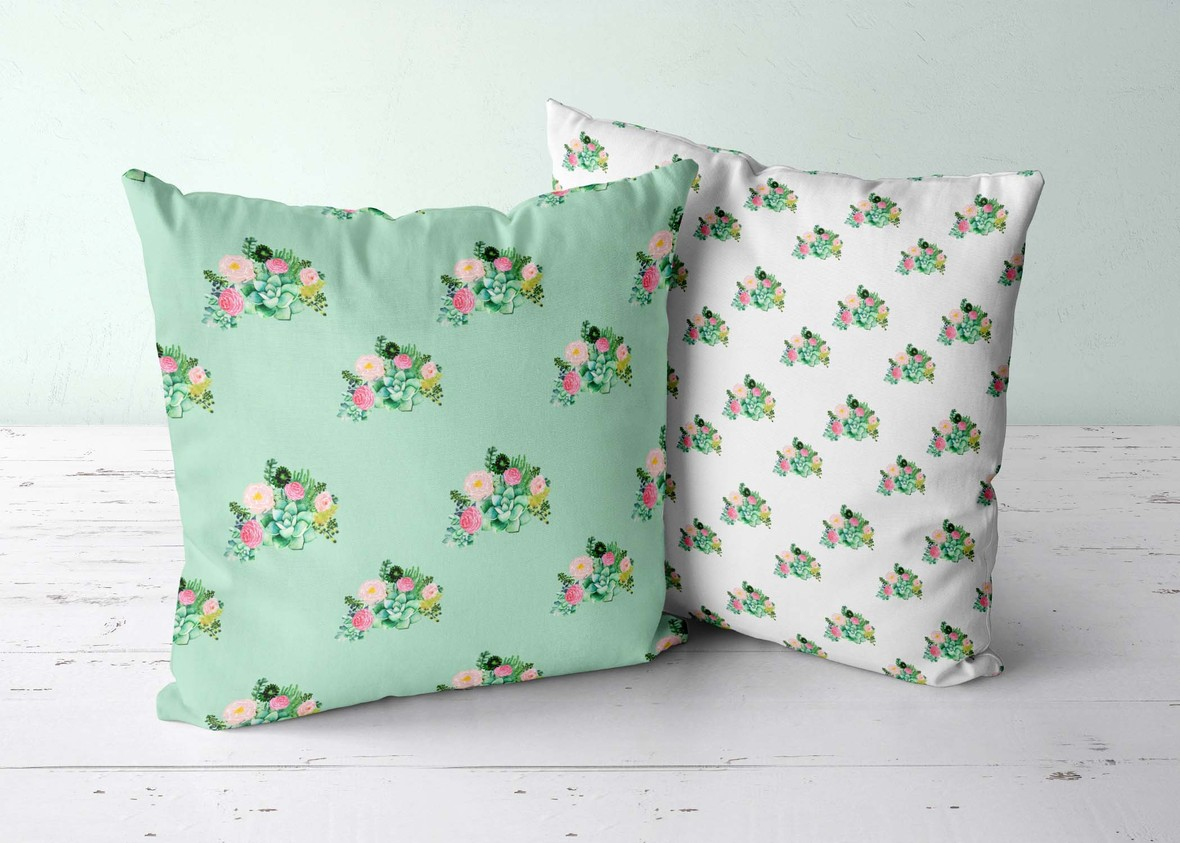 Two Pillows Floral Succulent both scales white