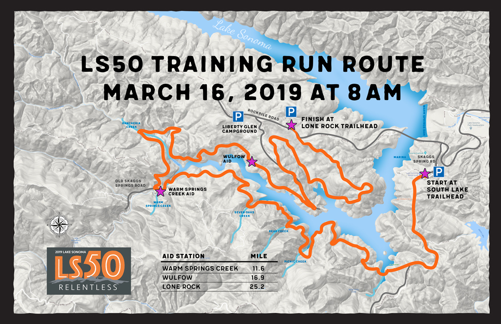 lake sonoma 50 training run map