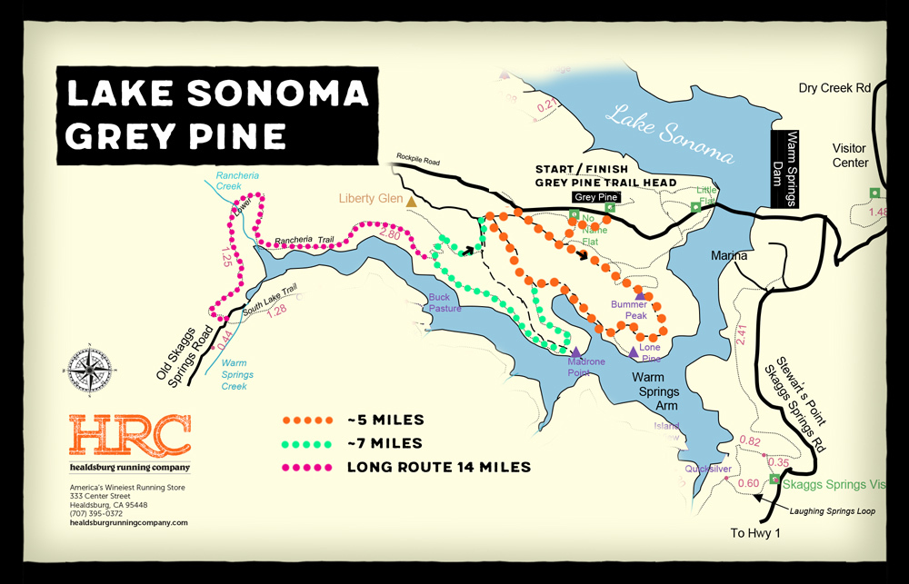 Lake sonoma run routes Gpine map