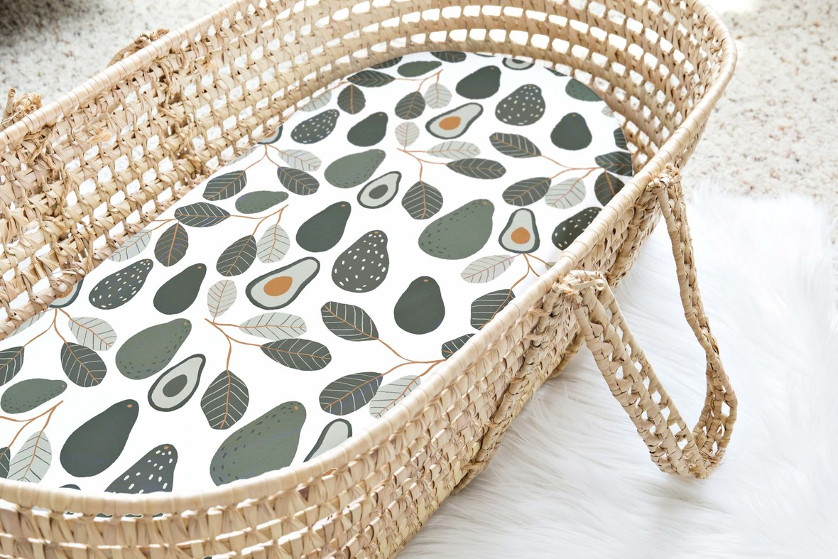 Moses Basket large avocado white
