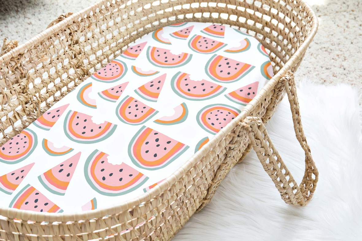 Moses Basket large watermelon white