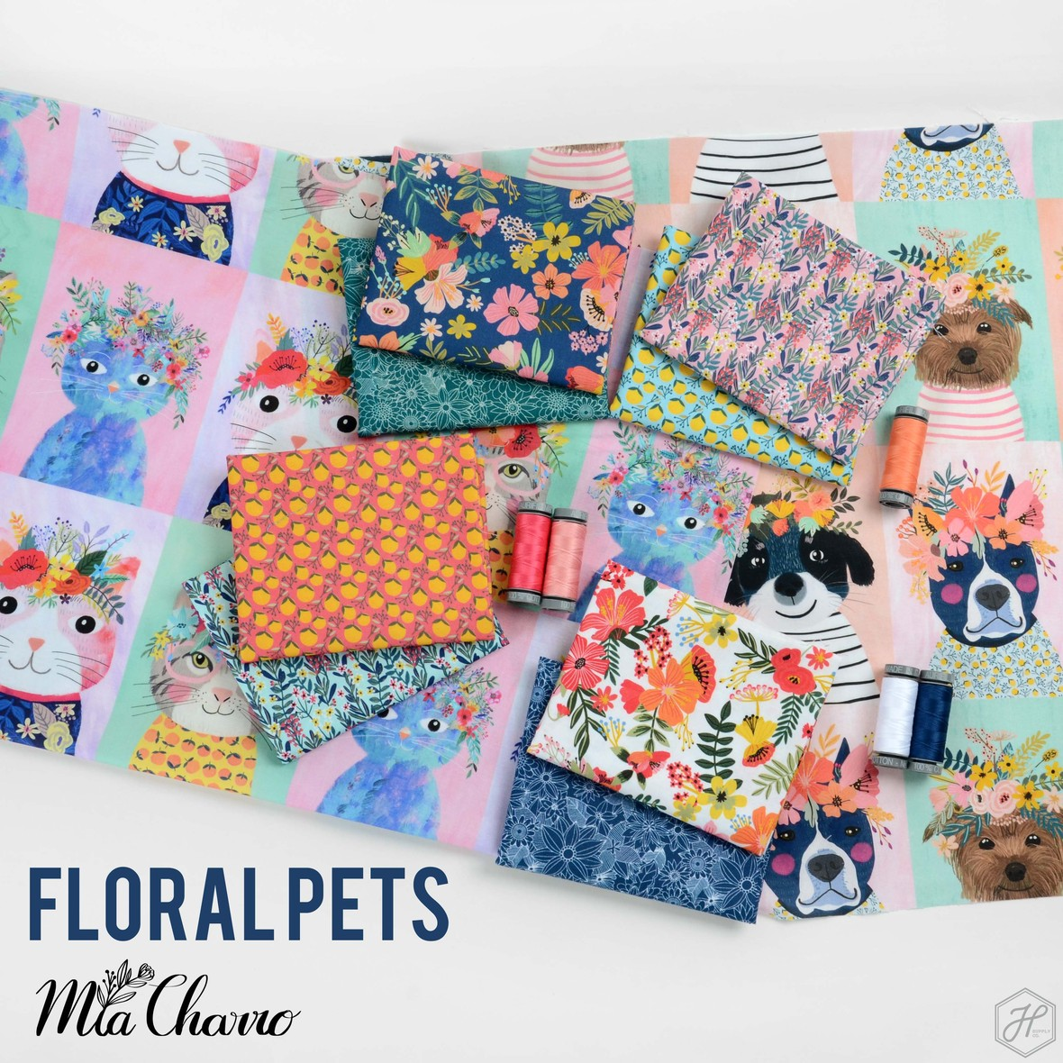 Floral Pets Fabric Poster Mia Charro at Hawthorne Supply Co