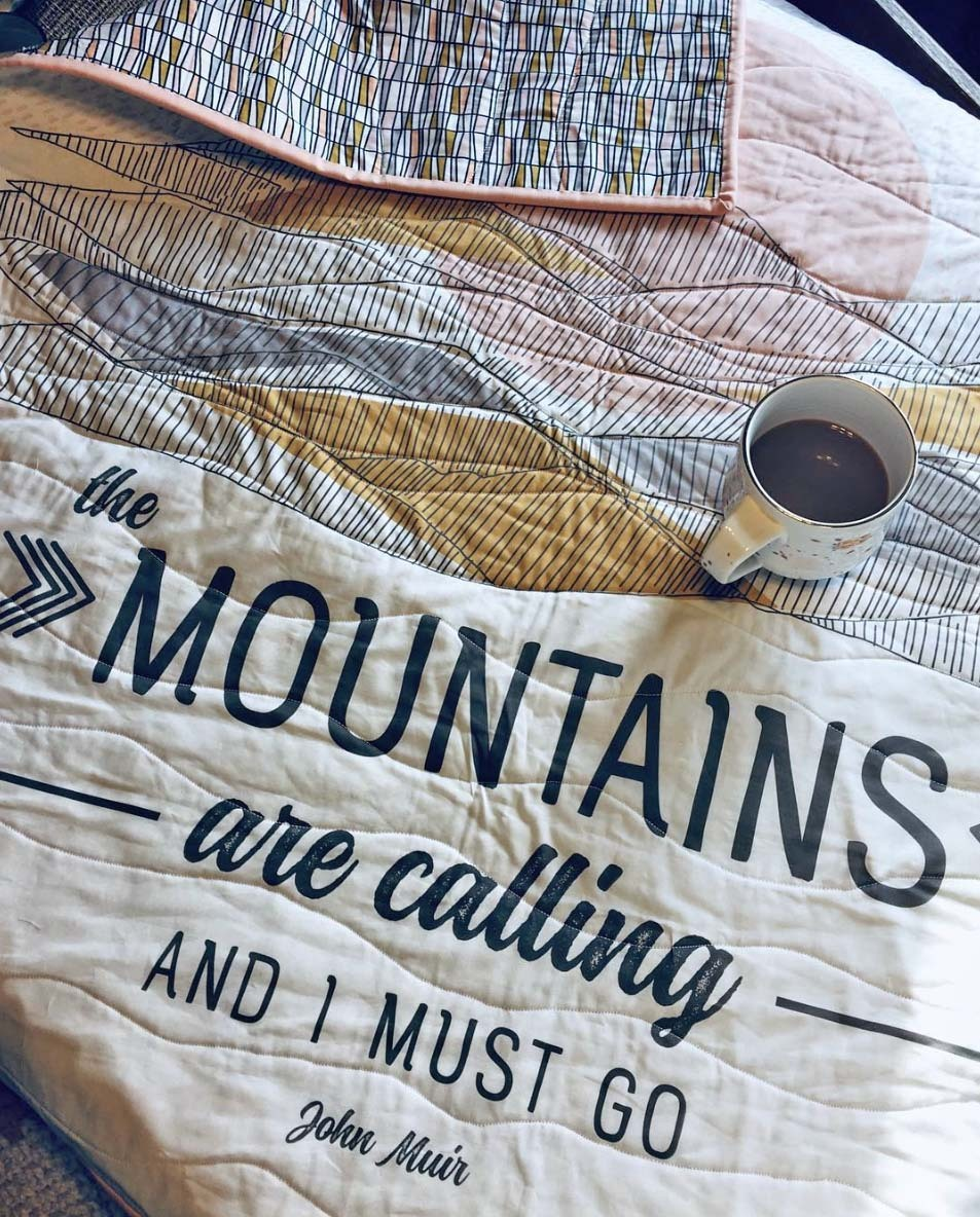 Mountains are Calling Quilt Panel Whimsical WInnie