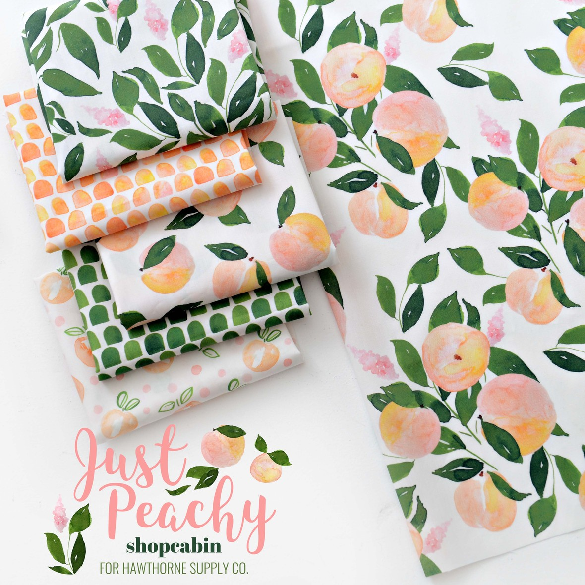 Just Peachy Fruit Fabric Shopcabin at Hawthorne Supply Co