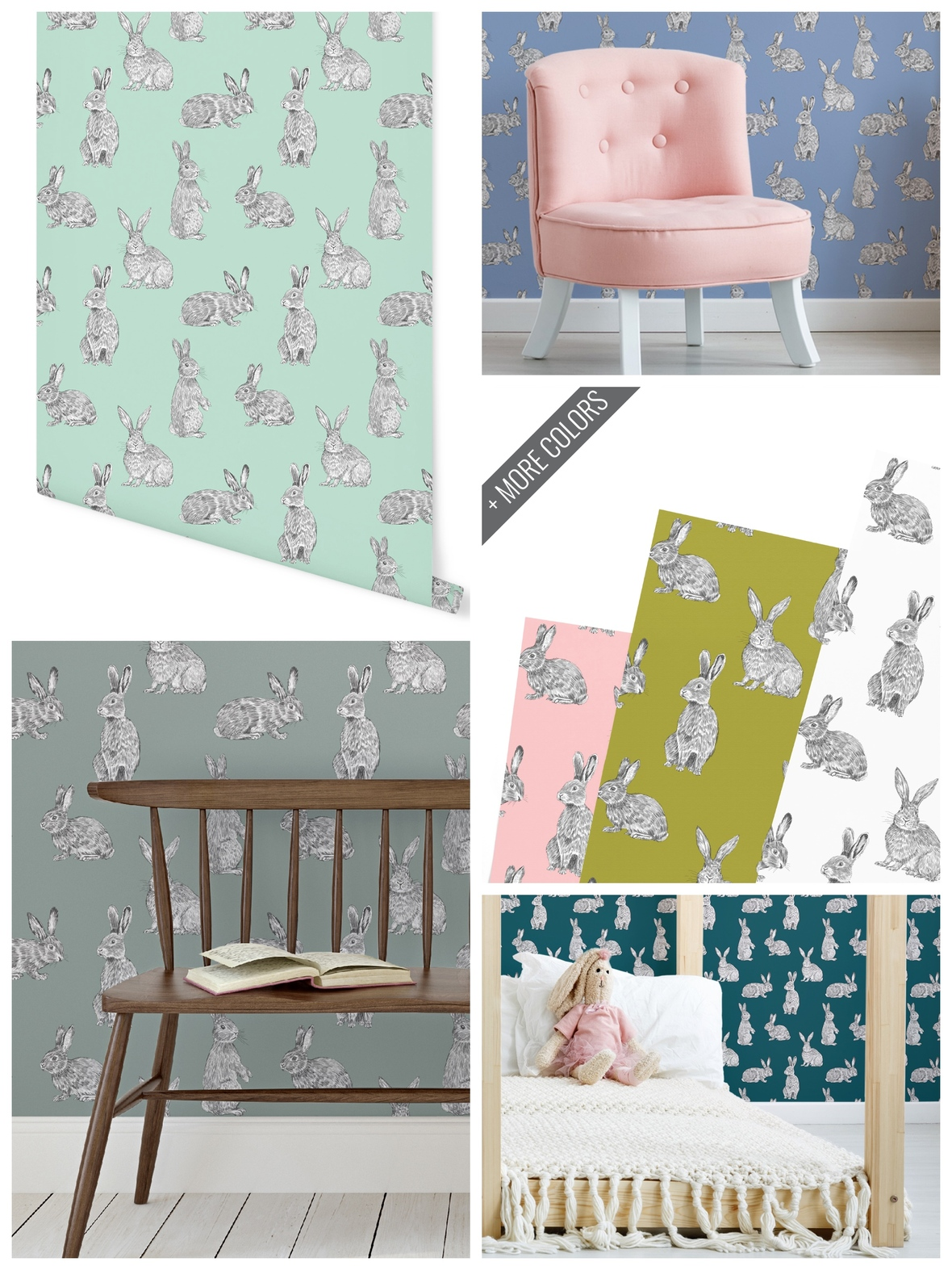 Bunny Hop Removable Wallpaper Hawthorne Supply Co