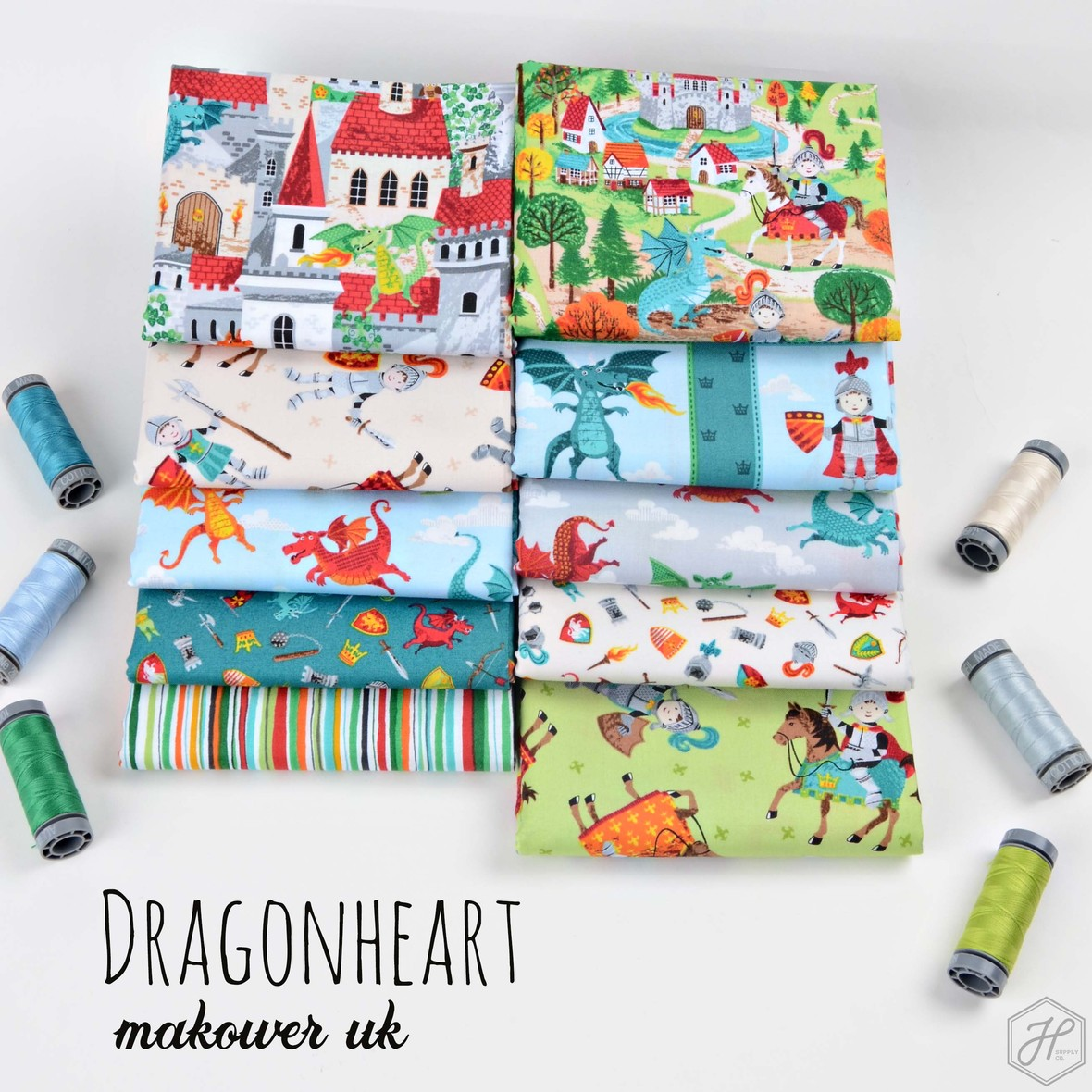 Dragonheart Fabric Poster Makower UK at Hawthorne Supply Co