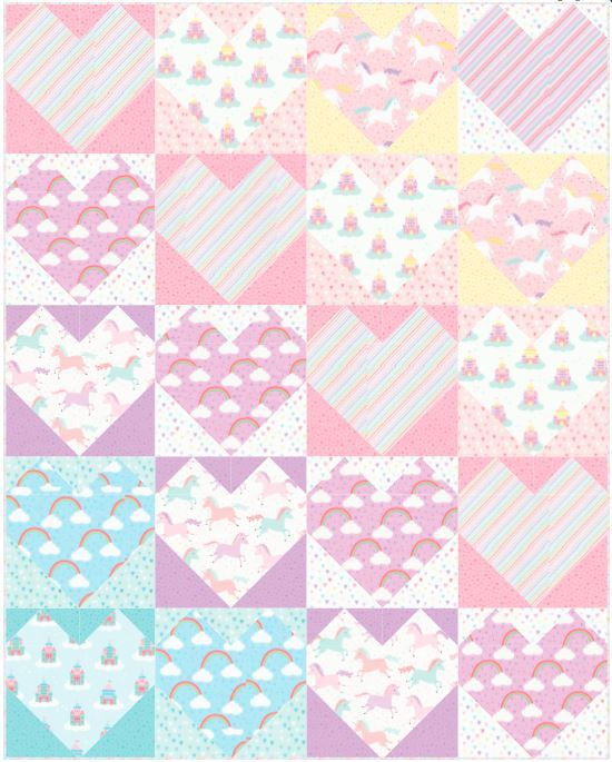 Free Quilt RK -  Heart Rainbows Pattern