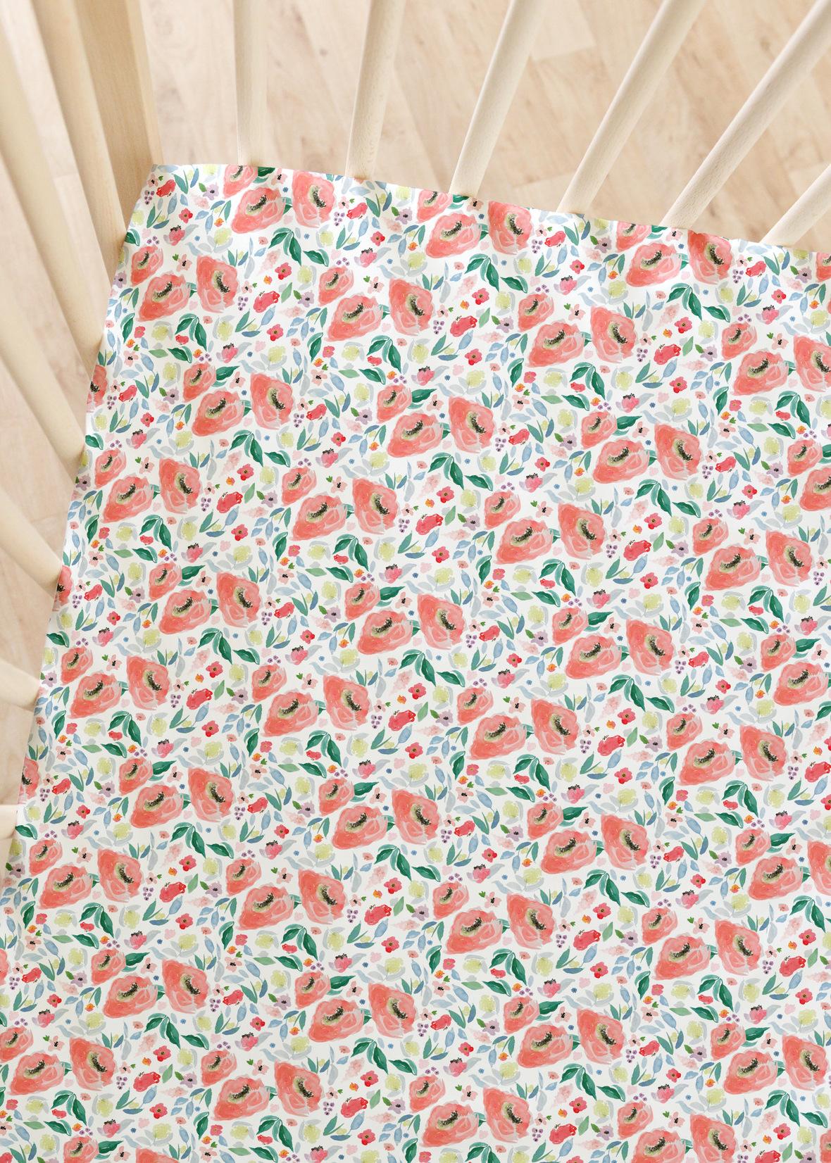 Crib Sheet big spring roses