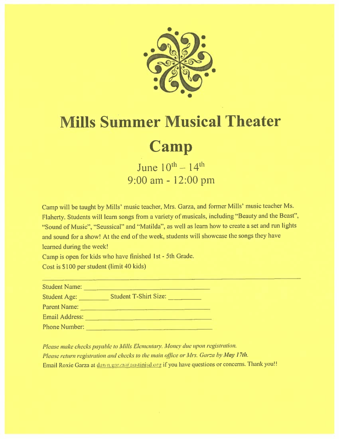 Mills Summer Musical Theater Camp