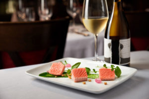 wine and salmon