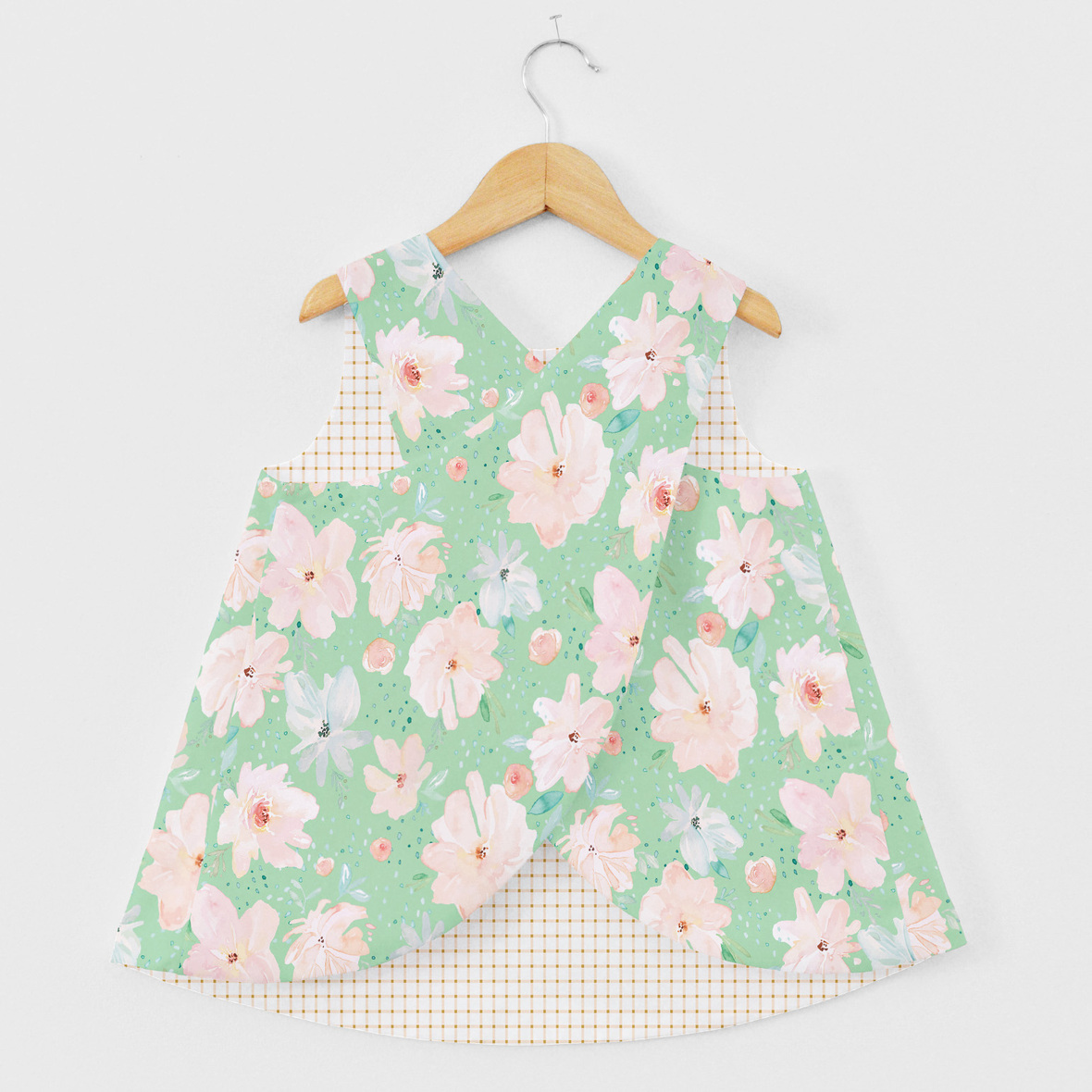 Pinafore Top large floral small gingham seaglass 1