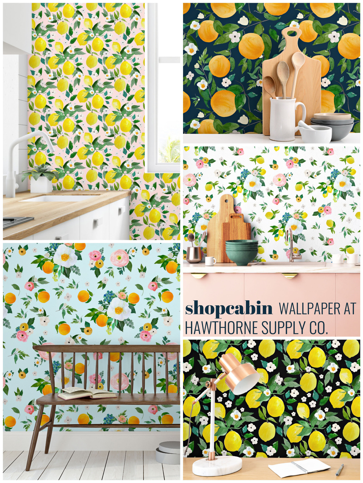 Shopcabin Citrus Grove Wallpaper at Hawthorne Supply Co