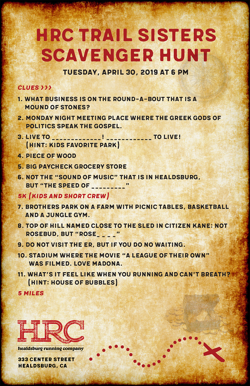 scavenger hunt clues april 2019