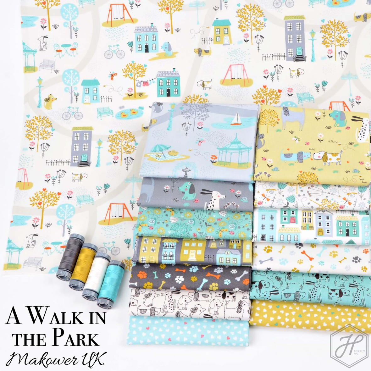 A Walk in the Park Fabric Poster Andover and Makower at Hawthorne Supply Co