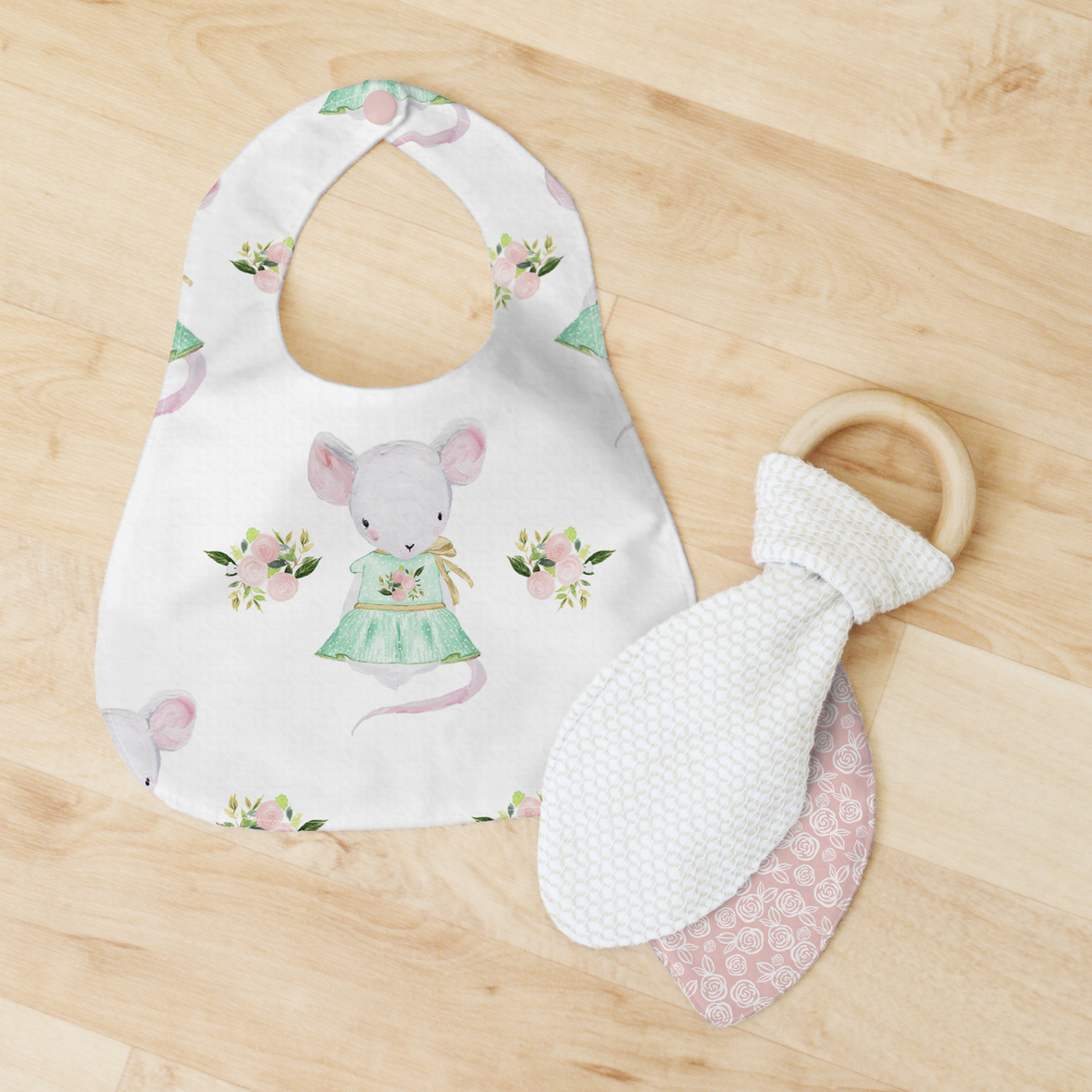 Bib and Teether large mouse small roses pink