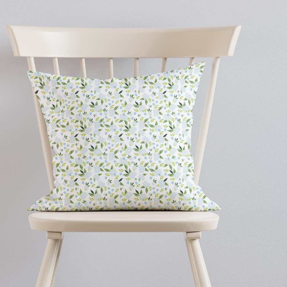 Pillow on Ivory Chair hydrangeas big scale