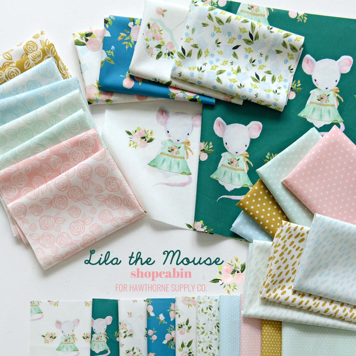 Lila the Mouse Shopcabin fabric at Hawthorne Supply Co
