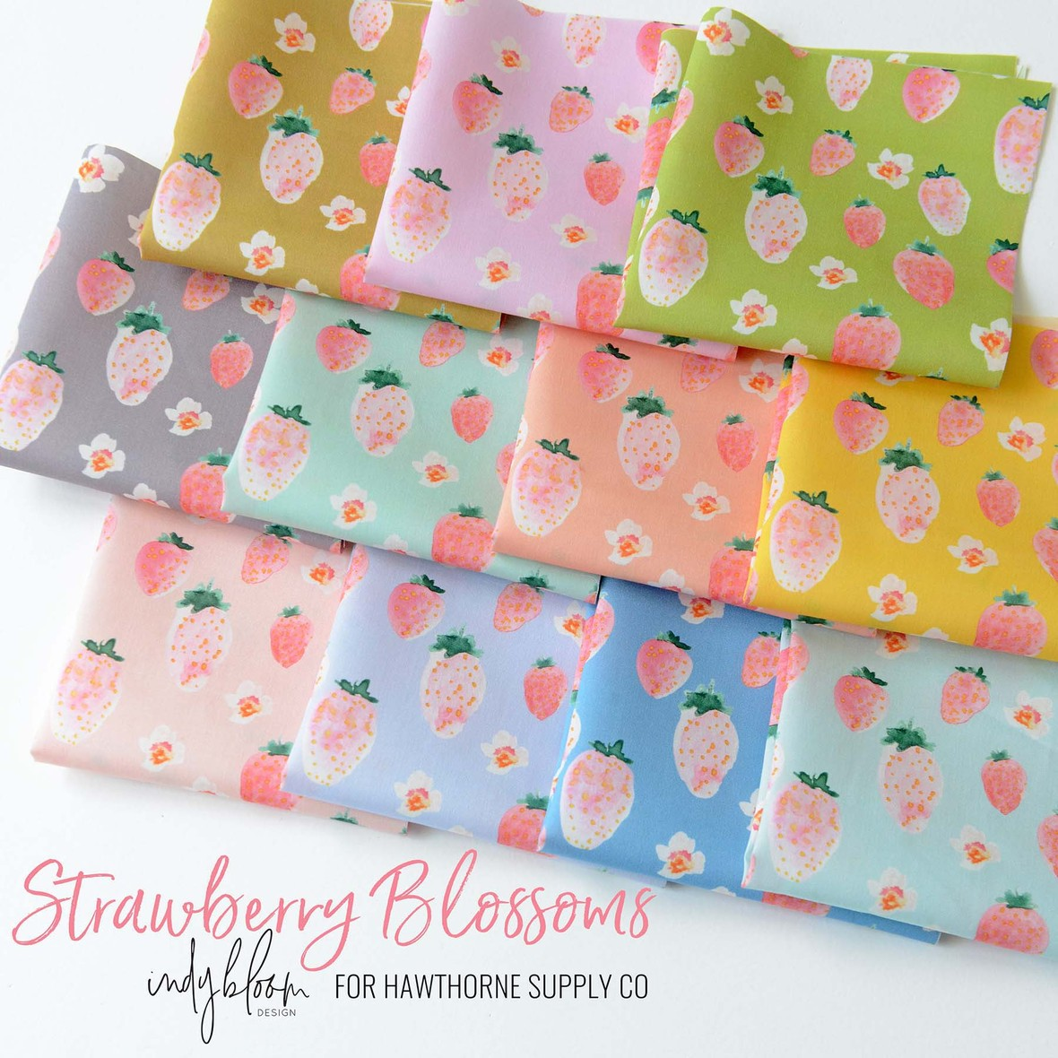 Strawberry Blossoms Fabric Poster Indy Bloom for Hawthorne Supply Co