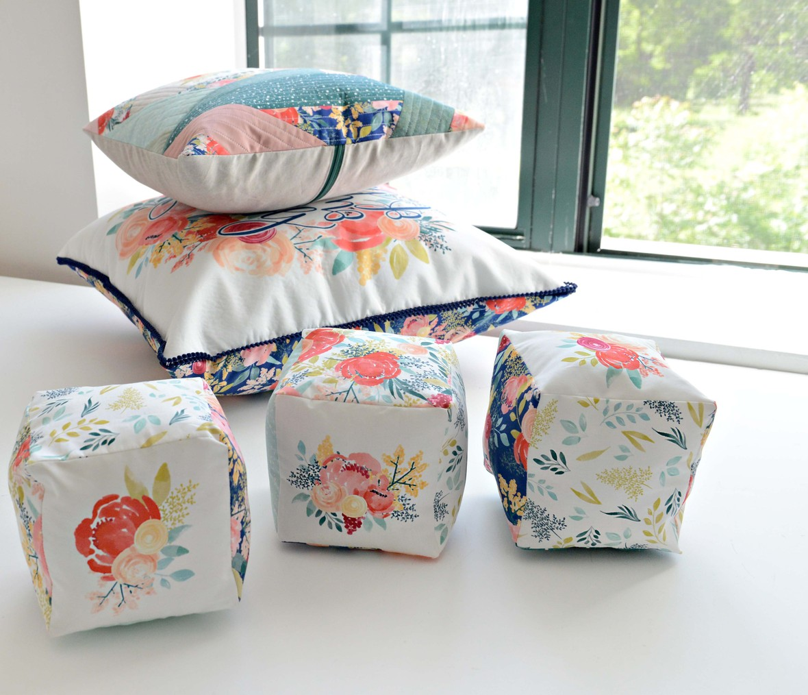 Sunshine Blossoms Pillows and Soft Fabric Blocks Mariah Danielle Design at Hawthorne Supply Co