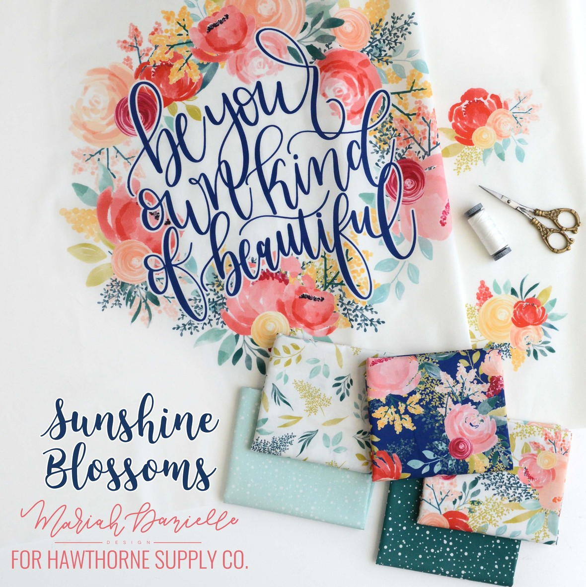 Sunshine Blossoms Fabric by Mariah Danielle for Hawthorne Supply Co