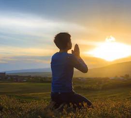 kneeling and praying