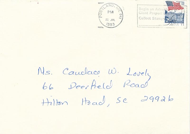 Bush Hamilton s Birthday Envelope 7 1993