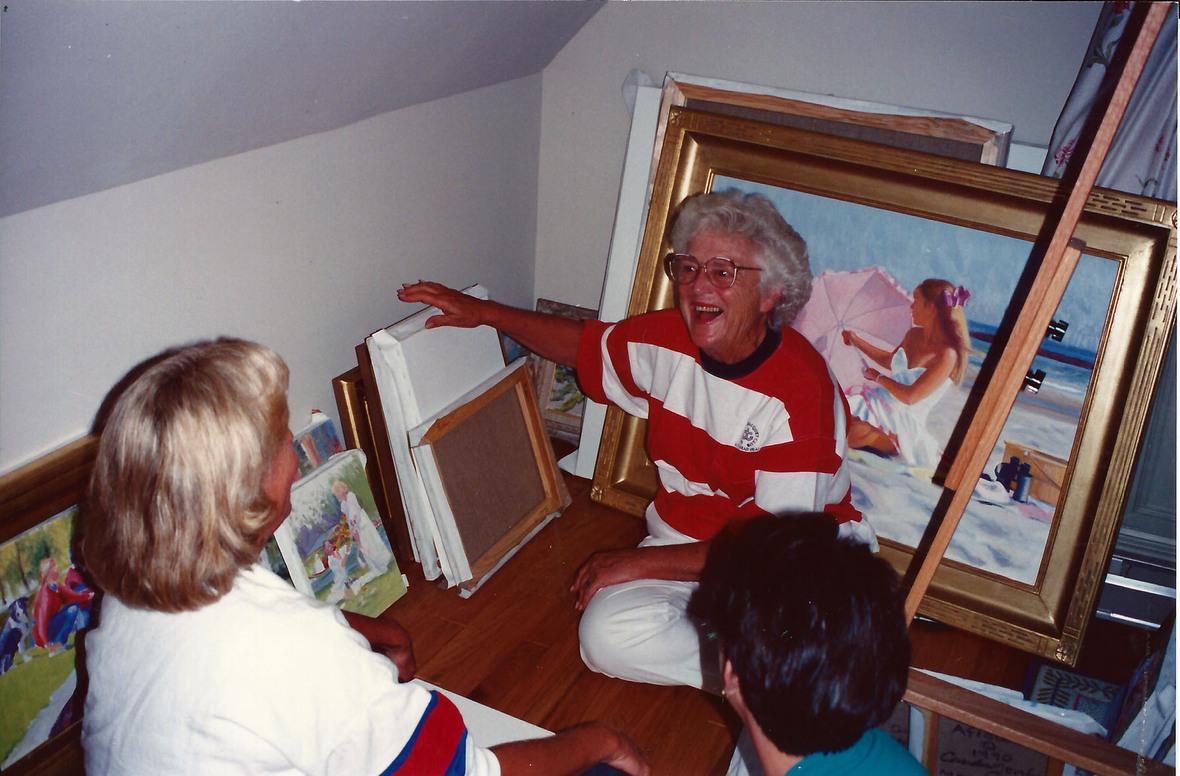 Barbara on floor in my studio 1991