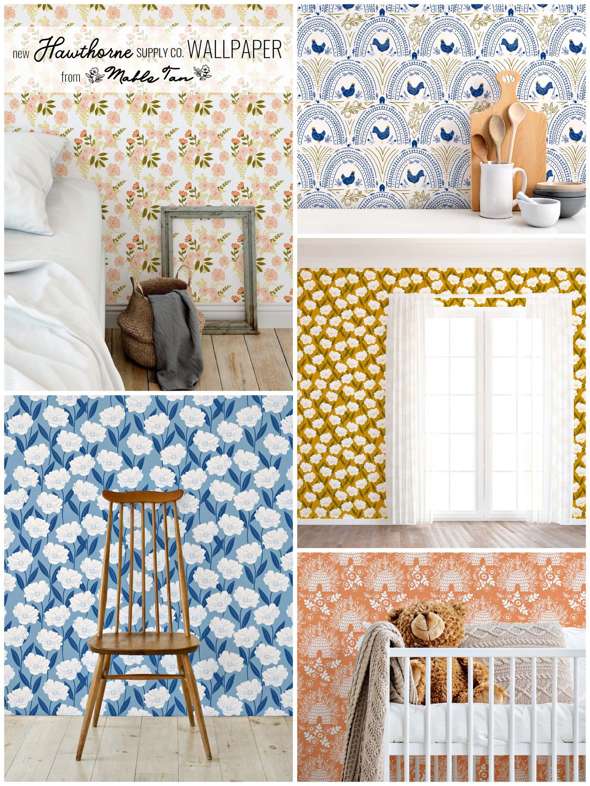 Mable Tan Modern Farmhouse Wallpaper at Hawthorne Supply Co