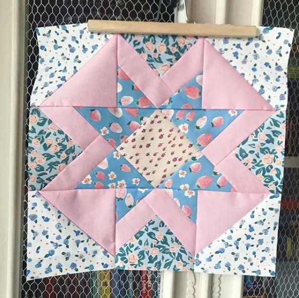 Strawberry Blossom fabric Quilt Block
