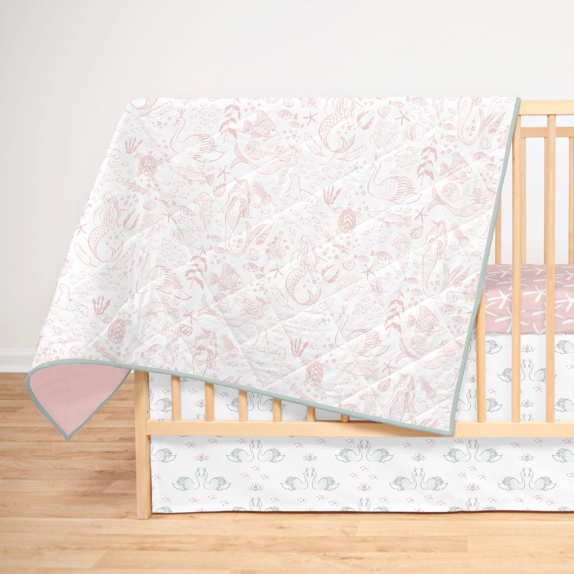 Full Crib Mapping blush mermaids