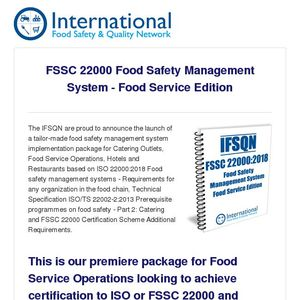 The IFSQN launch FSSC 22000 Food Safety Management System