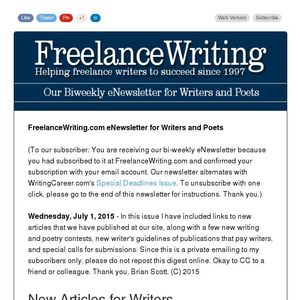 FreelanceWriting com's eNewsletter for Writers and Poets