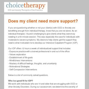 Intensive Support for OCD and Anxiety