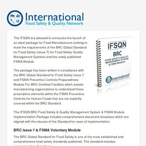 IFSQN launches BRC (Issue 7 with FSMA) Food Safety and