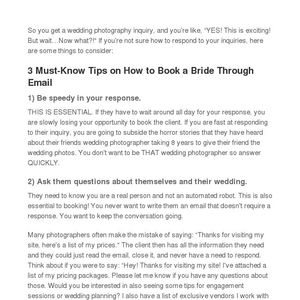 3 must know tips on how to book a bride through email junglespirit Gallery