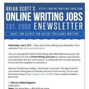 Brian Scott's Online Writing Jobs eNewsletter - Wednesday