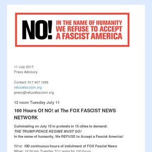 Today 12 pm 100 Hours Of NO! at FOX FASCIST News Network