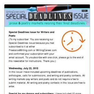 WritingCareer com's Special Deadlines Issue - Wednesday