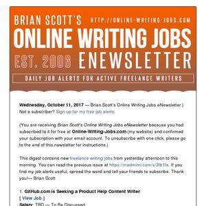 Brian Scott's Online Writing Jobs eNewsletter - Wednesday, October