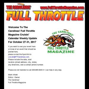 Cruisin' Calendar - October 27-31, 2017