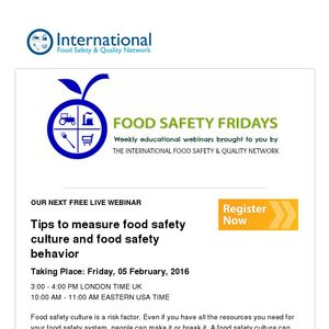 Free Live Webinar - Tips to measure food safety culture and