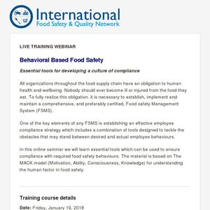 IFSQN Training Webinar: Behavioral Based Food Safety
