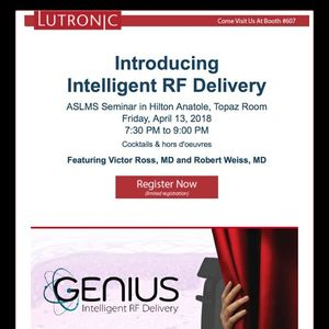 Lutronic Announces Cocktail Event at ASLMS with Victor Ross