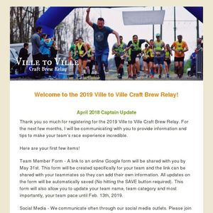 Welcome to the 2019 Ville to Ville Craft Brew Relay