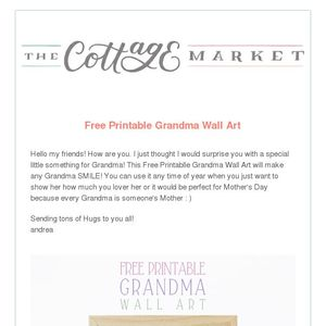graphic relating to All About Grandma Printable named No cost Printable Grandma Wall Artwork