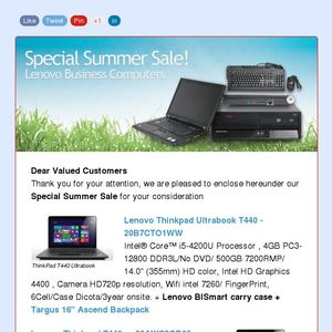 Lenovo Special Summer sale